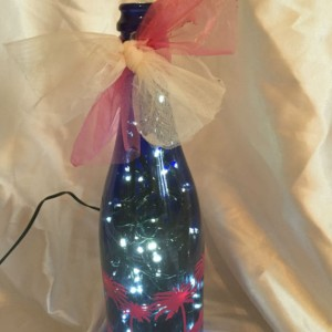 beach themed lighted wine bottle