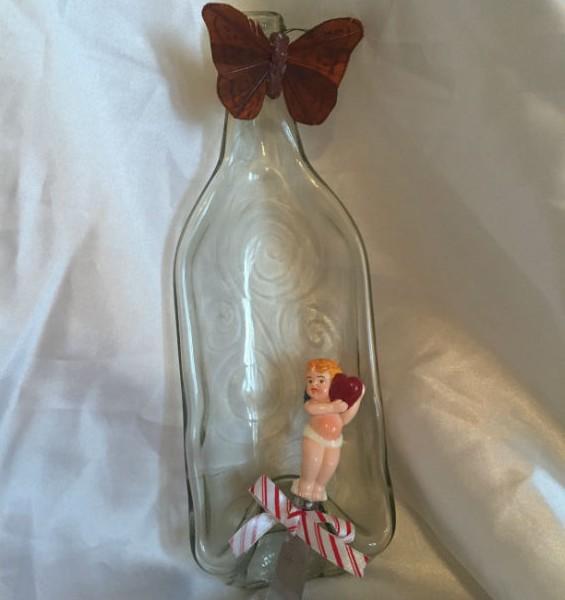 swirly slumped wine bottle clear